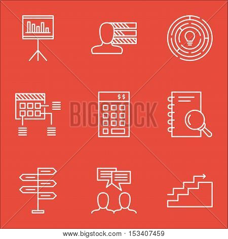 Set Of Project Management Icons On Presentation, Personal Skills And Schedule Topics. Editable Vecto