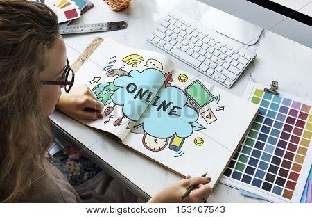Cloud Bubble Technology Sketch Doodle Concept