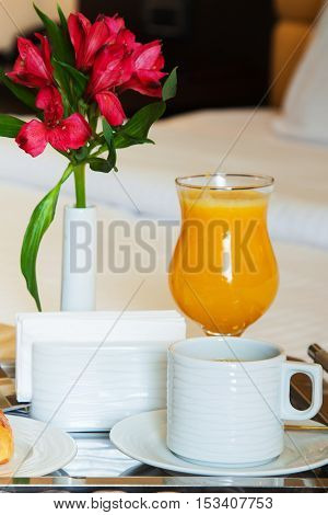Breakfast In Hotel Cup Of Coffee And Flower