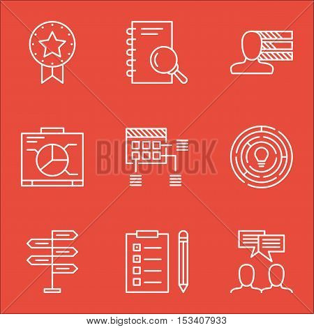 Set Of Project Management Icons On Analysis, Present Badge And Board Topics. Editable Vector Illustr