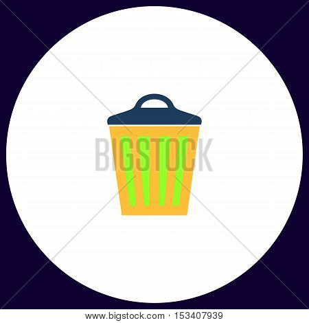 Trash can Simple vector button. Illustration symbol. Color flat icon