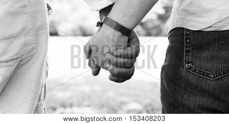 Elderly Couple Happiness Romantic Holding Hand Concept