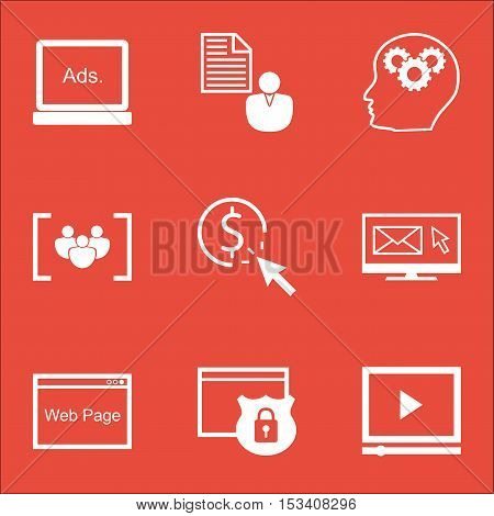 Set Of Marketing Icons On Questionnaire, Brain Process And Report Topics. Editable Vector Illustrati