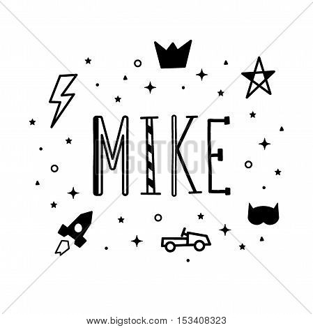Name Mike. Printing Fabric Textile. Black And White Color. Vector Cute Illustration For Boy With Lig