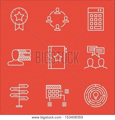 Set Of Project Management Icons On Present Badge, Opportunity And Investment Topics. Editable Vector