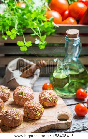 Meatballs With Rice, Tomatoes And Savoy Cabbage