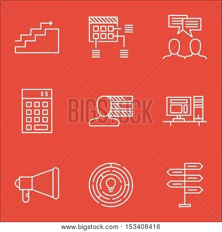 Set Of Project Management Icons On Discussion, Announcement And Growth Topics. Editable Vector Illus