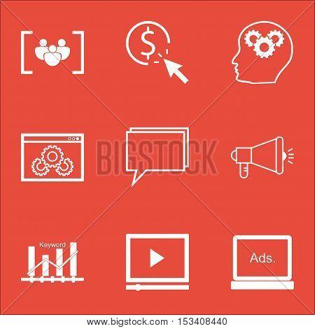 Set Of Marketing Icons On Digital Media, Brain Process And Media Campaign Topics. Editable Vector Il