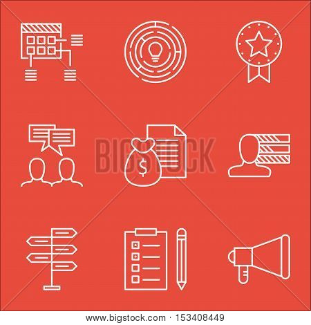 Set Of Project Management Icons On Present Badge, Opportunity And Discussion Topics. Editable Vector