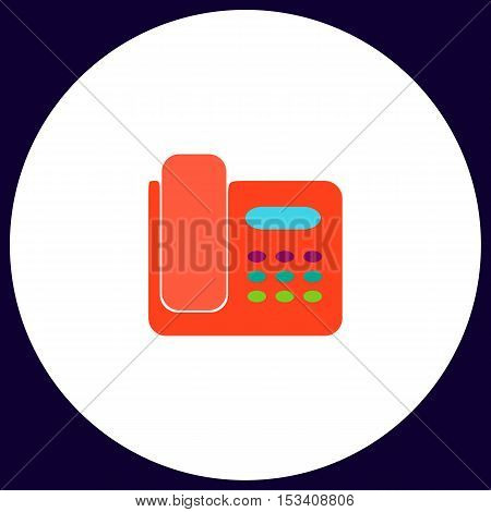 Office Phone Simple vector button. Illustration symbol. Color flat icon