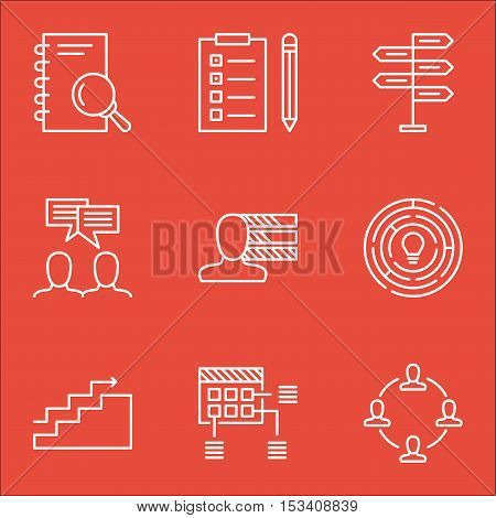 Set Of Project Management Icons On Analysis, Growth And Personal Skills Topics. Editable Vector Illu