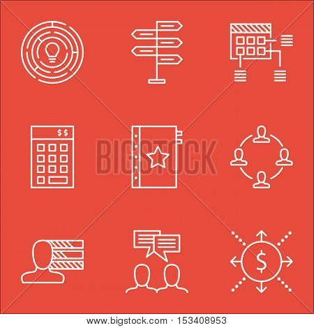 Set Of Project Management Icons On Innovation, Discussion And Money Topics. Editable Vector Illustra