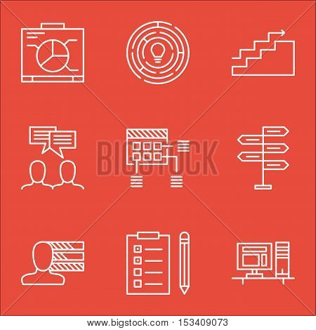 Set Of Project Management Icons On Schedule, Computer And Board Topics. Editable Vector Illustration
