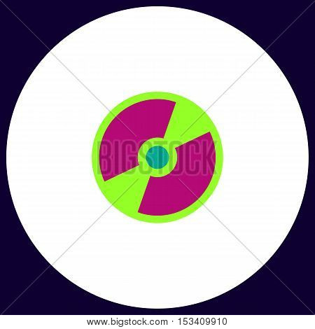 CD DVD Simple vector button. Illustration symbol. Color flat icon