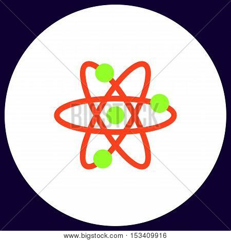 atom Simple vector button. Illustration symbol. Color flat icon