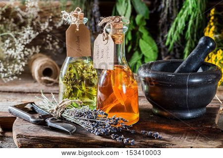 Tincture With Herbs In Bottles As An Homemade Cure