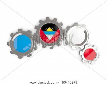 Flag Of Antigua And Barbuda, Metallic Gears With Colors Of The Flag