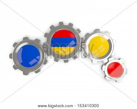 Flag Of Armenia, Metallic Gears With Colors Of The Flag