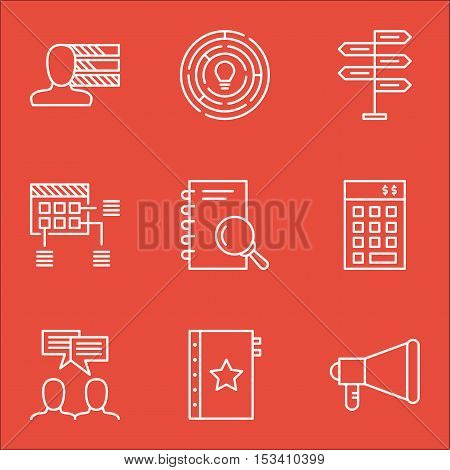 Set Of Project Management Icons On Analysis, Discussion And Announcement Topics. Editable Vector Ill