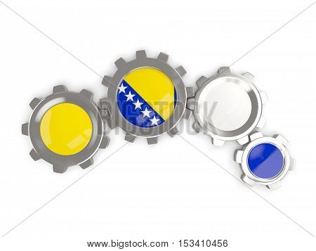 Flag Of Bosnia And Herzegovina, Metallic Gears With Colors Of The Flag