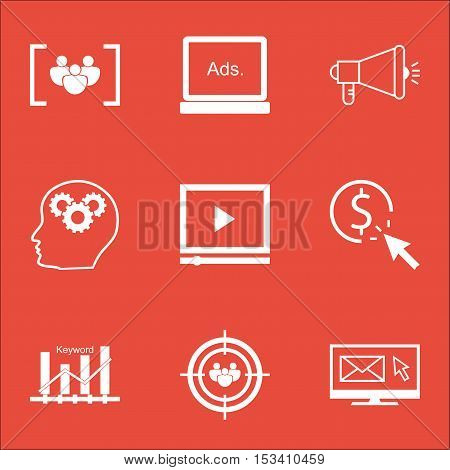 Set Of Advertising Icons On Media Campaign, Brain Process And Focus Group Topics. Editable Vector Il