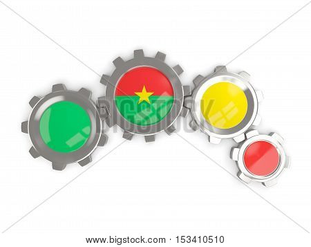 Flag Of Burkina Faso, Metallic Gears With Colors Of The Flag
