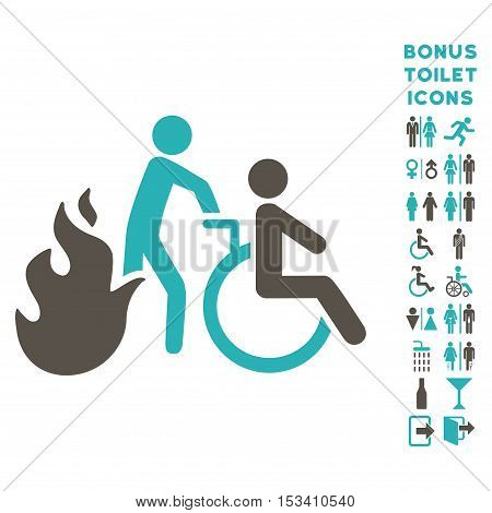 Fire Patient Evacuation icon and bonus male and lady toilet symbols. Vector illustration style is flat iconic bicolor symbols, grey and cyan colors, white background.