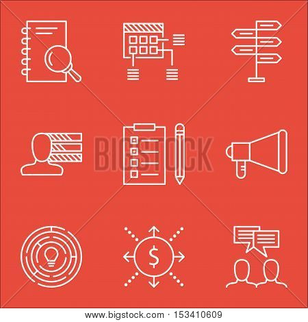 Set Of Project Management Icons On Announcement, Reminder And Discussion Topics. Editable Vector Ill