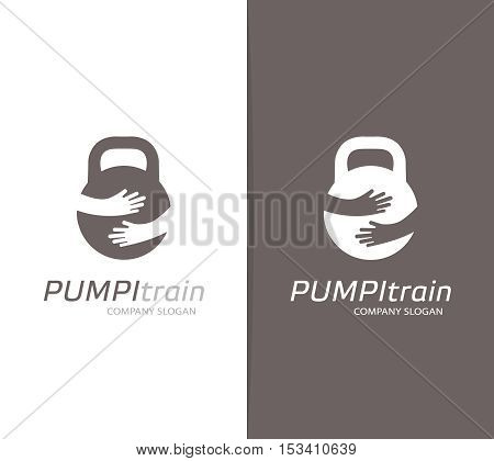 Vector weight and hands logo combination. Dumbbell and embrace symbol or icon. Unique gym and fitness logotype design template.