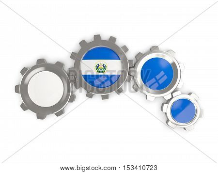 Flag Of El Salvador, Metallic Gears With Colors Of The Flag