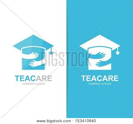 Vector graduation hat and hands logo combination. Education and embrace symbol or icon. Unique school and university logotype design template.