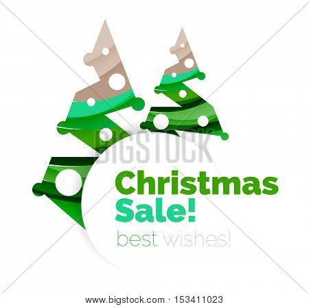 Christmas and New Year promotion banner design. Geometric design winter elements with copyspace