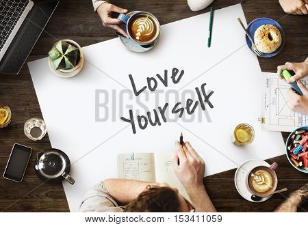 Love Yourself Happy Inspirational Concept