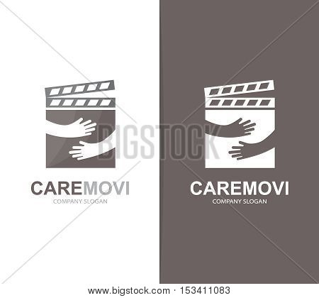 Vector clapperboard and hands logo combination. Cinema and embrace symbol or icon. Unique movie and video logotype design template.