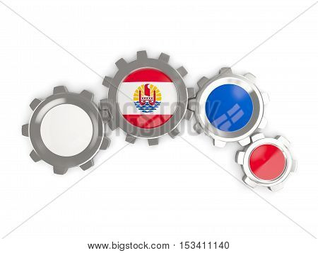 Flag Of French Polynesia, Metallic Gears With Colors Of The Flag