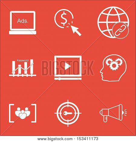 Set Of Advertising Icons On Connectivity, Keyword Marketing And Questionnaire Topics. Editable Vecto