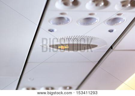 No Smoking Icon On Airplane Pane