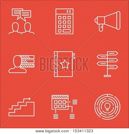 Set Of Project Management Icons On Discussion, Growth And Investment Topics. Editable Vector Illustr