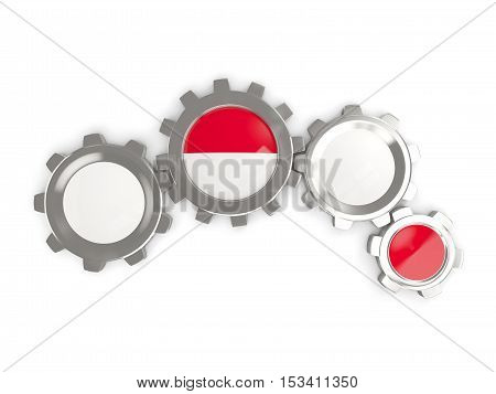 Flag Of Indonesia, Metallic Gears With Colors Of The Flag