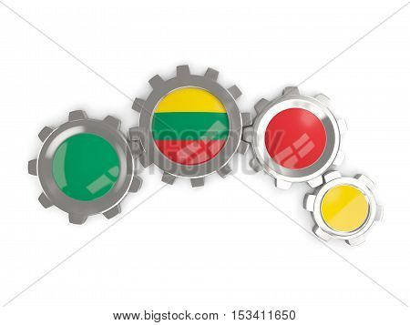 Flag Of Lithuania, Metallic Gears With Colors Of The Flag