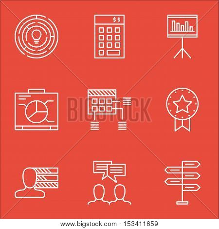 Set Of Project Management Icons On Presentation, Opportunity And Present Badge Topics. Editable Vect