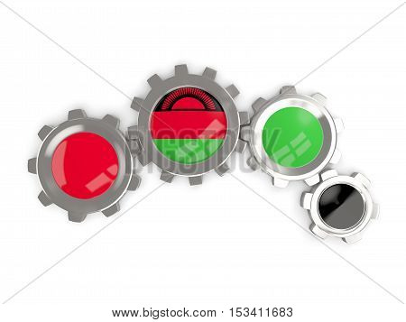 Flag Of Malawi, Metallic Gears With Colors Of The Flag