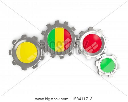 Flag Of Mali, Metallic Gears With Colors Of The Flag