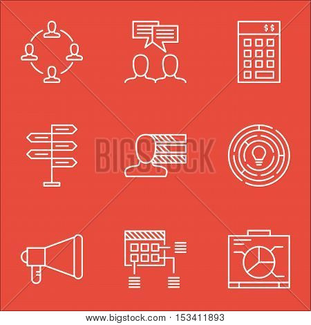 Set Of Project Management Icons On Board, Announcement And Personal Skills Topics. Editable Vector I