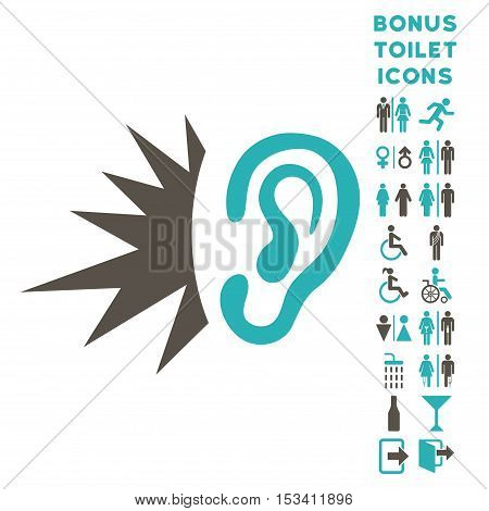 Listen Loud Sound icon and bonus male and lady WC symbols. Vector illustration style is flat iconic bicolor symbols, grey and cyan colors, white background.