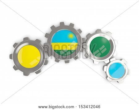 Flag Of Rwanda, Metallic Gears With Colors Of The Flag