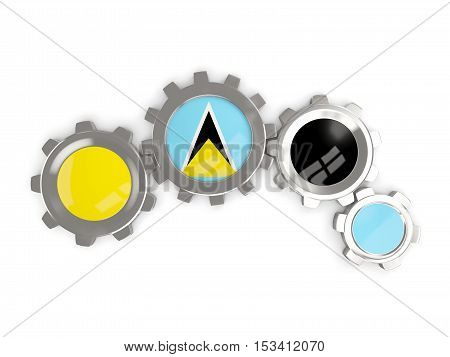 Flag Of Saint Lucia, Metallic Gears With Colors Of The Flag