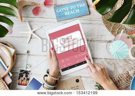 Gift Certificate Voucher Coupon Discount Concept