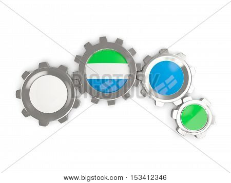 Flag Of Sierra Leone, Metallic Gears With Colors Of The Flag