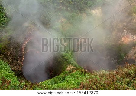 Vrata Ada Gate of Hell Geyser in Valley of Geysers. Kronotsky Nature Reserve on Kamchatka Peninsula.